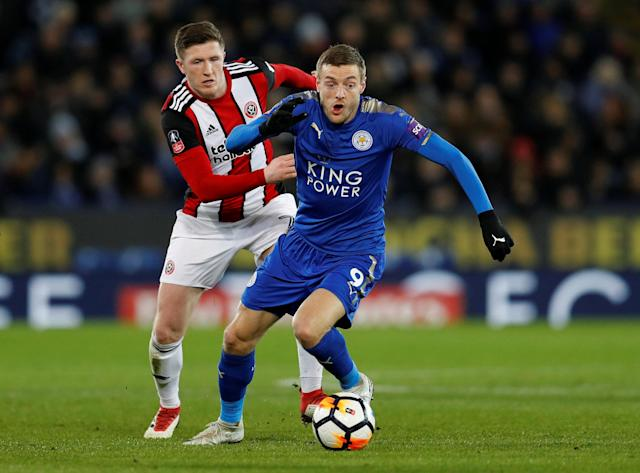 Soccer Football - FA Cup Fifth Round - Leicester City vs Sheffield United - King Power Stadium, Leicester, Britain - February 16, 2018 Leicester City's Jamie Vardy in action with Sheffield United's John Lundstram REUTERS/Darren Staples