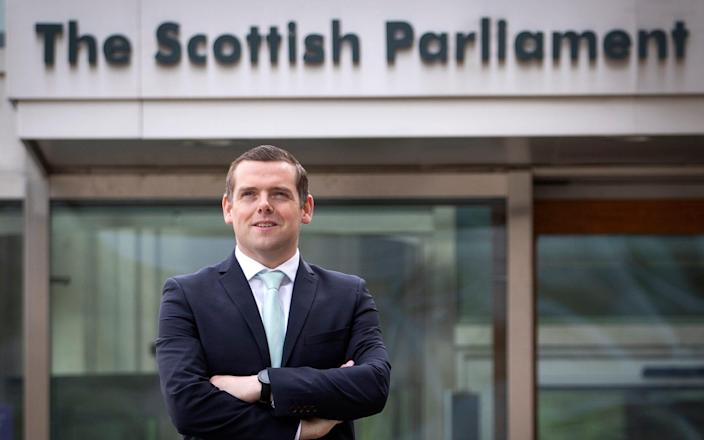 Scottish Conservative party leader Douglas Ross outside the Scottish Parliament, Holyrood, Edinburgh. Picture date: Sunday May 9, 2021. PA Photo. See PA story SCOTLAND Tories. Photo credit should read: - Jane Barlow/PA Wire