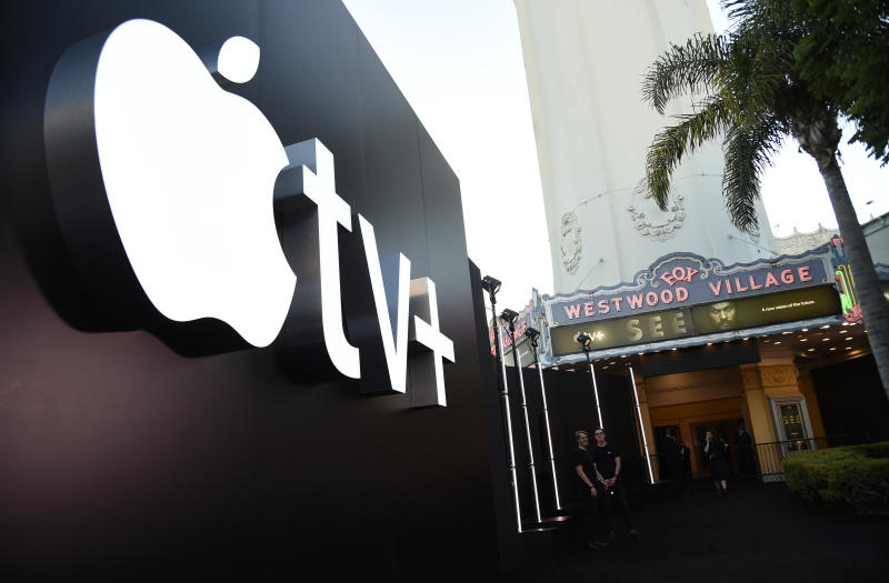 "The Apple TV+ logo is pictured before the premiere of the the Apple TV+ series ""See,"" at the Regency Village Theatre, Monday, Oct. 21, 2019, in Los Angeles. (Photo by Chris Pizzello/Invision/AP)"