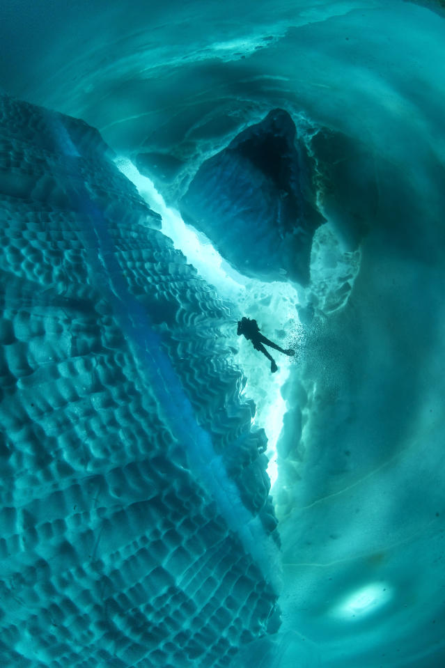 <p>In some of the pictures, divers are swimming around an underwater iceberg. (Photo: Franco Banfi/Caters News) </p>