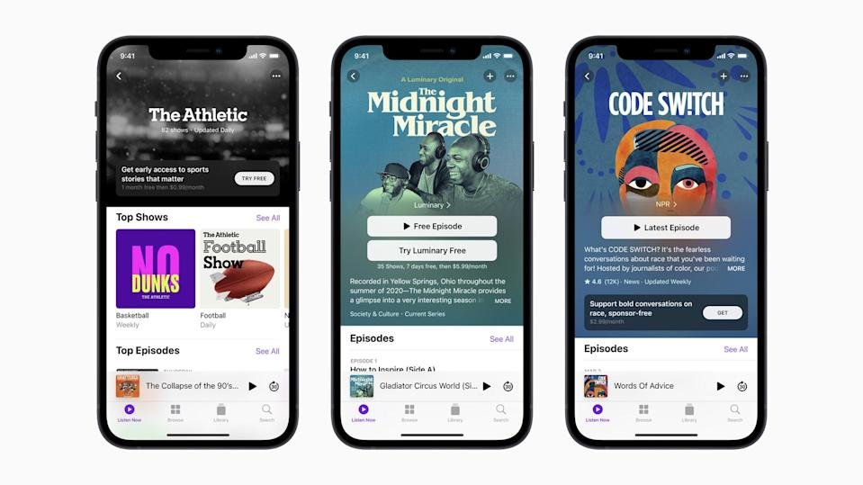 Apple Podcasts screen images