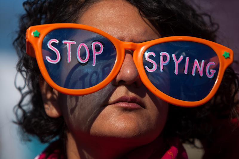 A Stop Watching Us Rally protesting surveillance by the US National Security Agency on October 26, 2013 in Washington (AFP Photo/Allison Shelley)