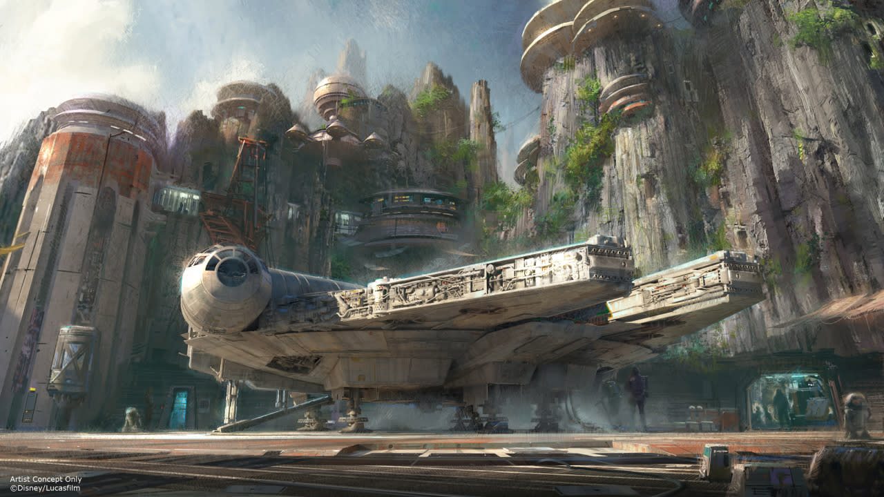 <p>The <i>Falcon</i> ride got the loudest ovation at the D23 announcement and is expected to be a huge draw. (Credit: Disney/Lucasfilm)</p>