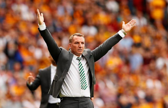 Soccer Football - Scottish Cup Final - Celtic vs Motherwell - Hampden Park, Glasgow, Britain - May 19, 2018 Celtic manager Brendan Rodgers gestures Action Images via Reuters/Jason Cairnduff