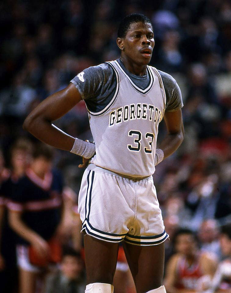 Patrick Ewing, center of the Georgetown University Hoyas men's basketball team stands on the court during a game at McDonough Arena in Washington, D.C, 1985.
