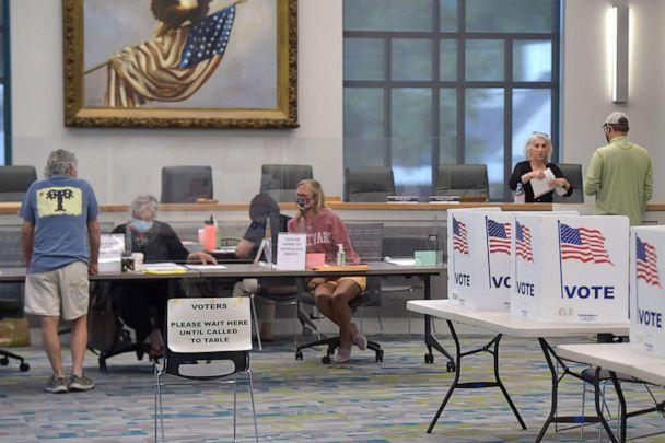 PHOTO: Voters get ballots at Borough Hall in West Chester, Pa., May 18, 2021. (Daily Local News via Getty Images, FILE)