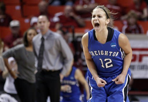 Creighton guard Ally Jensen (12) reacts to scoring a basket in the first half of an NCAA tournament first-round women's college basketball game against St. John's in Norman, Okla., Sunday, March 18, 2012. (AP Photo/Sue Ogrocki)