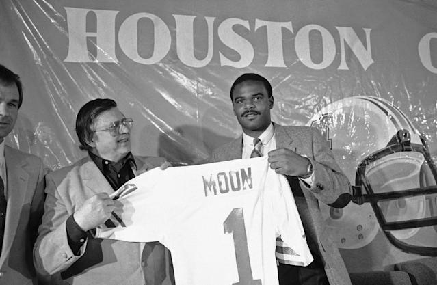 After winning five titles in the CFL, Warren Moon finally got an opportunity in the NFL, with the Houston Oilers, where he became a Hall of Fame quarterback. (AP)