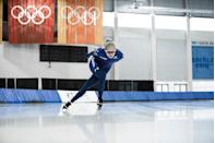 """<p>""""Speedskating is a very physically demanding sport,"""" Manganello says. Her obsession with pizza and vanilla malts gives her something to work toward during long weightlifting and cycling sessions, which help her gain strength and build the endurance she needs to really bring it out on the ice.</p>"""