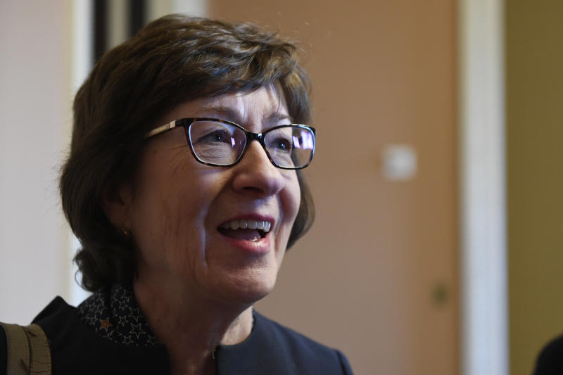 Sen. Susan Collins, R-Maine, talks to reporters on Capitol Hill in Washington, Wednesday, Jan. 15, 2020. (AP Photo/Susan Walsh)