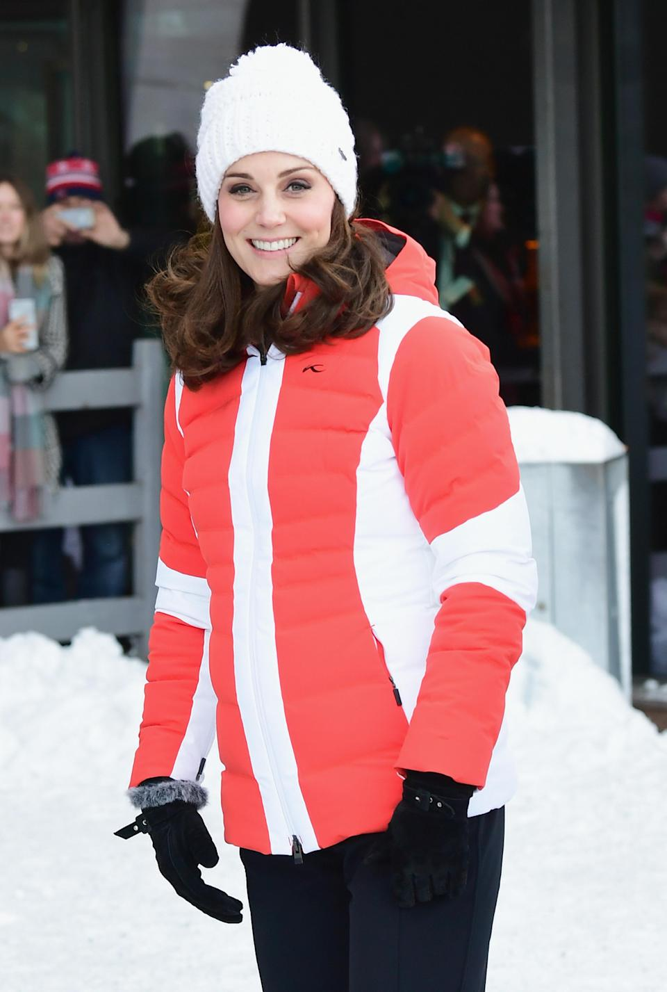 <p><strong>The occassion:</strong> At Holmenkollen ski jump in Oslo on day four of their visit to Sweden and Norway. <br><strong>The look:</strong> A two-toned, quilted jacket by Norweigan brand Kjus with a Barts white beanie hat.<br>[Photo: Getty] </p>
