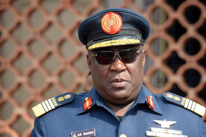 Air Chief Marshal Alex Badeh, pictured on February 19, 2015, was sacked this month along with the entire military top brass who served under President Buhari's predecessor Goodluck Jonathan (AFP Photo/Pius Utomi Ekpei)