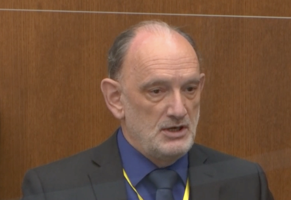 <p>David Fowler, a forensic pathologist, testifies during the Derek Chauvin trial on 14 April 2021</p> (Court TV)