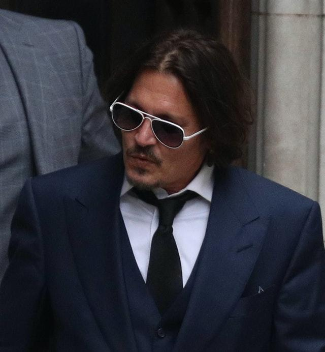 Actor Johnny Depp leaves the High Court (Steve Parsons/PA)