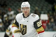 Vegas Golden Knights forward Paul Stastny (26) before an NHL hockey game against the Dallas Stars Friday, Dec. 13, 2019, in Dallas. (AP Photo/Brandon Wade)