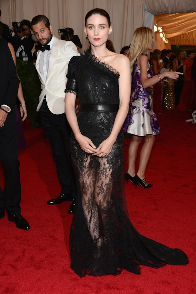 """NEW YORK, NY - MAY 07:  Rooney Mara attends the """"Schiaparelli And Prada: Impossible Conversations"""" Costume Institute Gala at the Metropolitan Museum of Art on May 7, 2012 in New York City.  (Photo by Dimitrios Kambouris/Getty Images)"""
