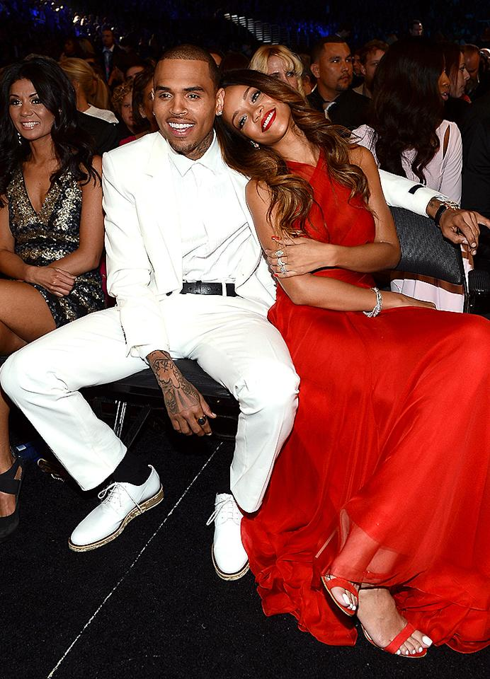 LOS ANGELES, CA - FEBRUARY 10:  Singers Chris Brown (L) and Rihanna attend the 55th Annual GRAMMY Awards at STAPLES Center on February 10, 2013 in Los Angeles, California.  (Photo by Larry Busacca/WireImage)