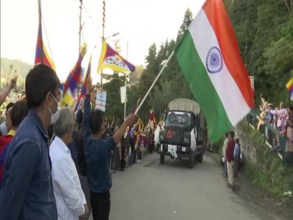 Tibetan community gathered to support Special Frontier Force (SFF) in Shimla. (Photo/ANI)