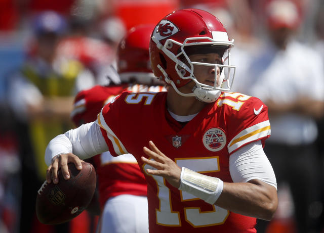 Kansas City Chiefs quarterback Patrick Mahomes passes against the Los Angeles Chargers during the first half of an NFL football game Sunday, Sept. 9, 2018, in Carson, Calif. (AP Photo/Jae C. Hong)