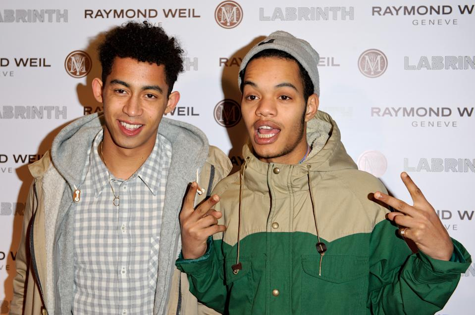 "LONDON, ENGLAND - JANUARY 26:  Jordan ""Rizzle"" Stephens and Harley ""Sylvester"" Alexander-Sule of Rizzle Kicks attends special dinner ahead of next month's awards at The Chocolate Factory on January 26, 2012 in London, England.  (Photo by Ben Pruchnie/Getty Images)"