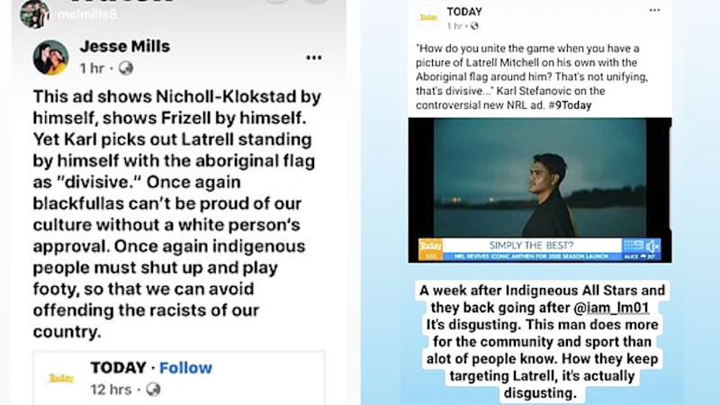 Social media posts criticising Karl Stefanovic's comments were shared by Latrell Mitchell.