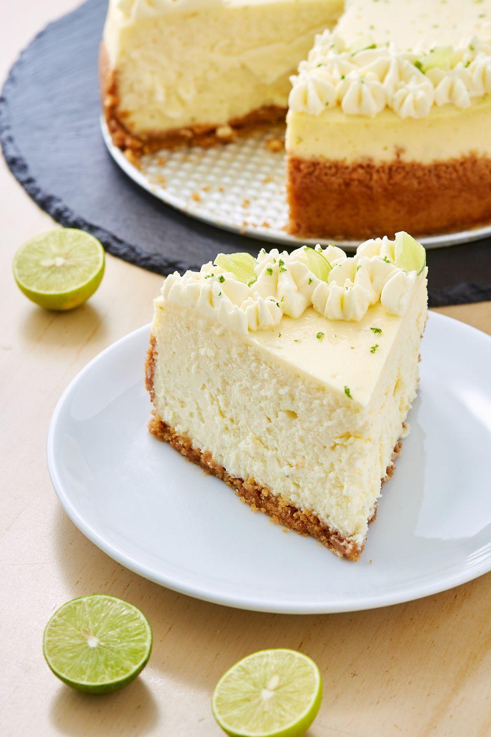 """<p>Cheesecake > pie. Always.<br></p><p>Get the recipe from <a href=""""https://www.delish.com/cooking/recipe-ideas/a28556089/key-lime-cheesecake-recipe/"""" rel=""""nofollow noopener"""" target=""""_blank"""" data-ylk=""""slk:Delish"""" class=""""link rapid-noclick-resp"""">Delish</a>. </p>"""