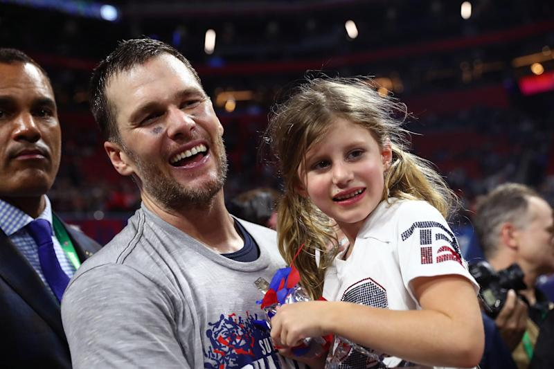 Tom Brady celebrates his Super Bowl win with daughter Vivian. (Getty)