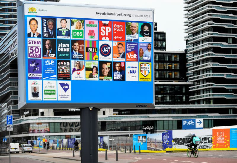 An election sign is seen in The Hague