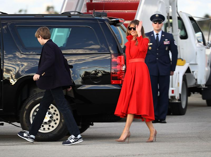 Photos: Getty.  The First Lady pays homage to her predecessors in a coatdress.