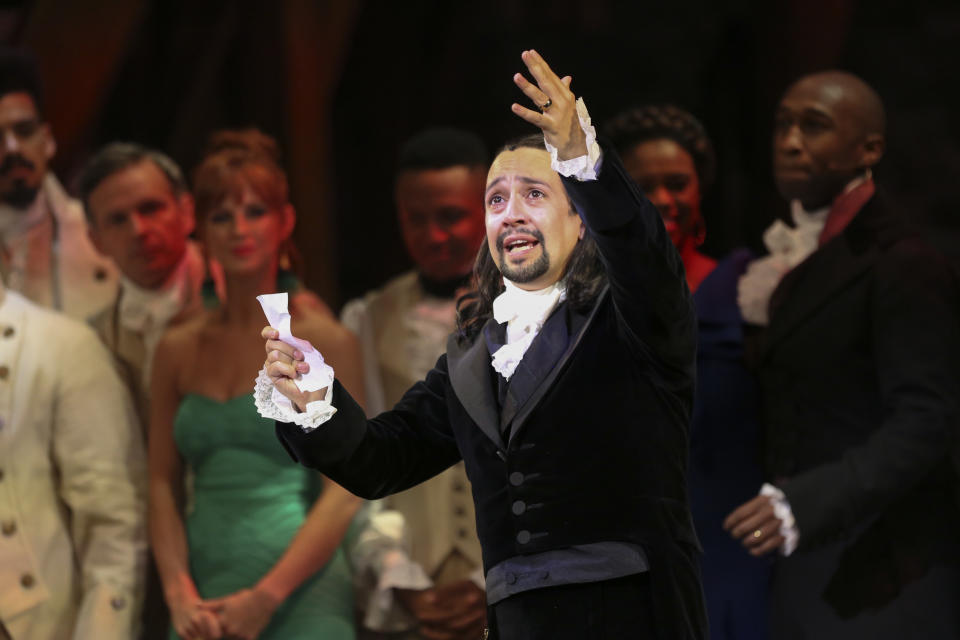 Lin Manuel Miranda thanks the audience after his performance of the award-winning Broadway musical, Hamilton, in Puerto Rico. (Photo by Dennis M. Rivera Pichardo/For The Washington Post via Getty Images)