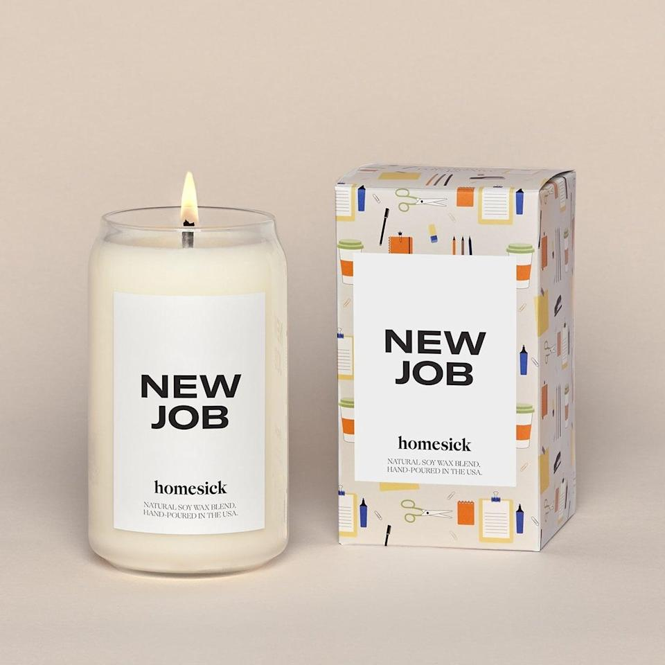 <p>With notes of cinnamon, cedarwood, clove, vanilla, leather and tonka bean, the <span>New Job Candle</span> ($34) burns with the thrill of something new.</p>