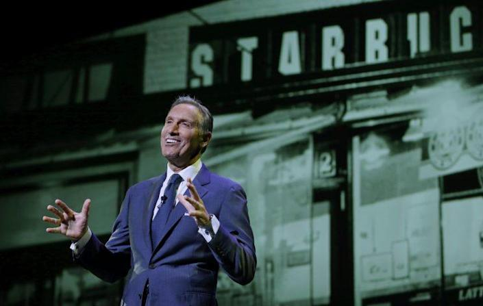 Starbucks CEO Howard Schultz speaks at the coffee company's annual shareholders meeting in Seattle in 2016. (Photo: Ted S. Warren/AP)