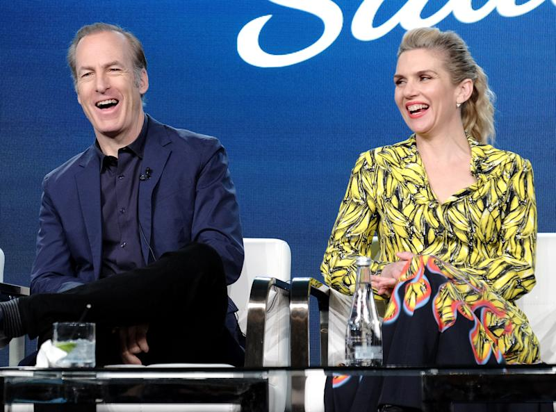 """Better Call Saul"" stars Bob Odenkirk, left, and Rhea Seehorn, discuss the AMC 'Breaking Bad' spinoff's Season 5 premiere in February and renewal for a sixth and final season at the Television Critics Association Thursday."