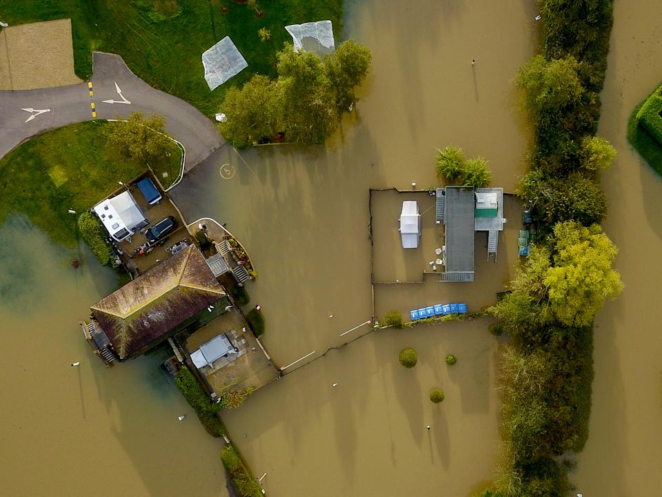 Aerial view of flooding in Tewkesbury. (SWNS)