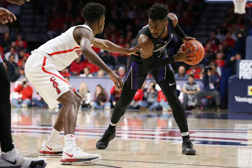 TUCSON, AZ - FEBRUARY 07: Washington Huskies guard Jaylen Nowell (5) dribbles the ball during a college basketball game between the Washington Huskies and the Arizona Wildcats on February 07, 2019, at McKale Center in Tucson, AZ. (Photo by Jacob Snow/Icon Sportswire via Getty Images)
