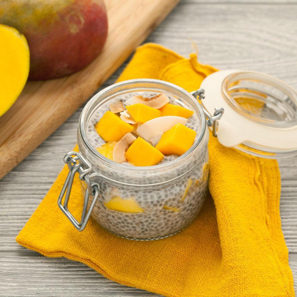 """<p>Switch up your morning oatmeal routine with this so-easy chia pudding recipe. Creamy mango and coconut combine in this healthy breakfast recipe for a taste of the tropics. <a href=""""http://www.eatingwell.com/recipe/258639/mango-coconut-chia-pudding/"""" rel=""""nofollow noopener"""" target=""""_blank"""" data-ylk=""""slk:View recipe"""" class=""""link rapid-noclick-resp""""> View recipe </a></p>"""