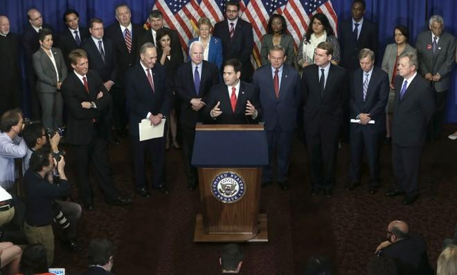 Marco Rubio and his colleagues in the Gang of Eight may face opposition from the Tea Party, among others.