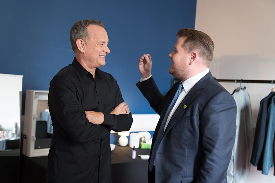 James chats with guests, Tom Hanks and Gillian Anderson onThe Late Late Show with James Corden broadcasting from London.    Airing June 17th, 2019 (12:37-1:37 AM, ET/PT) Photo: Craig Sugden/CBS ©2019 CBS Broadcasting, Inc. All Rights Reserved