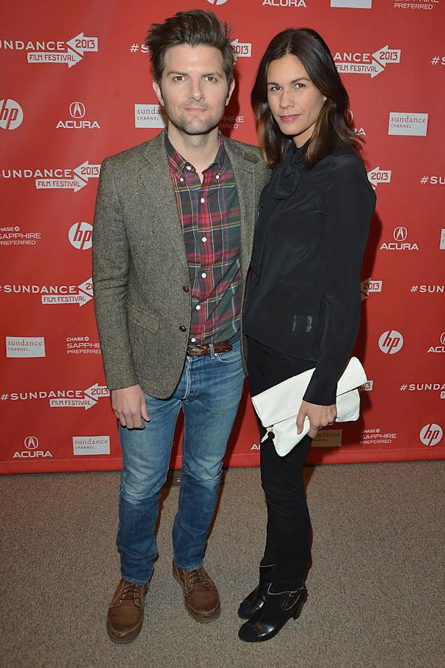 "PARK CITY, UT - JANUARY 23:  Actors Adam Scott and Naomi Scott attend the ""A.C.O.D"" Premiere during the 2013 Sundance Film Festival at Eccles Center Theatre on January 23, 2013 in Park City, Utah.  (Photo by George Pimentel/Getty Images)"