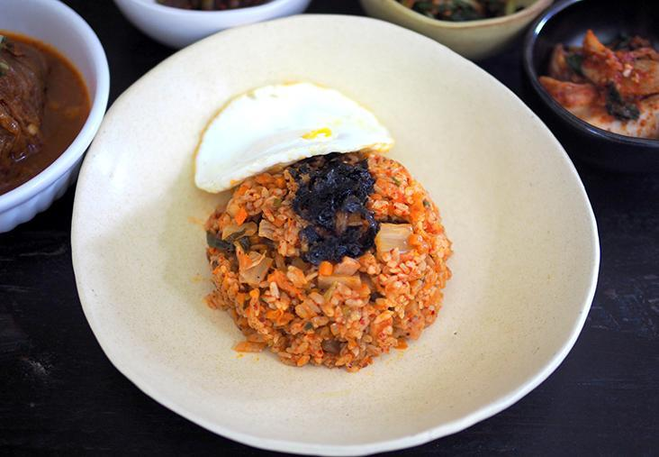 It may not look much but the kimchi spam fried rice topped with seaweed and a fried egg goes well with the kimchi stew.
