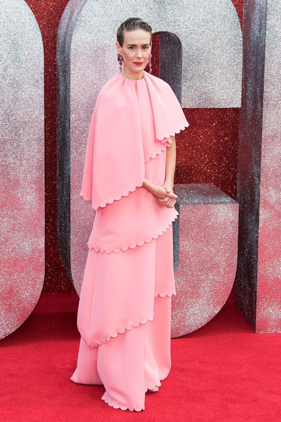 <p>The actress wore Valentino to the UK premiere of <em>Ocean's 8</em>.</p>