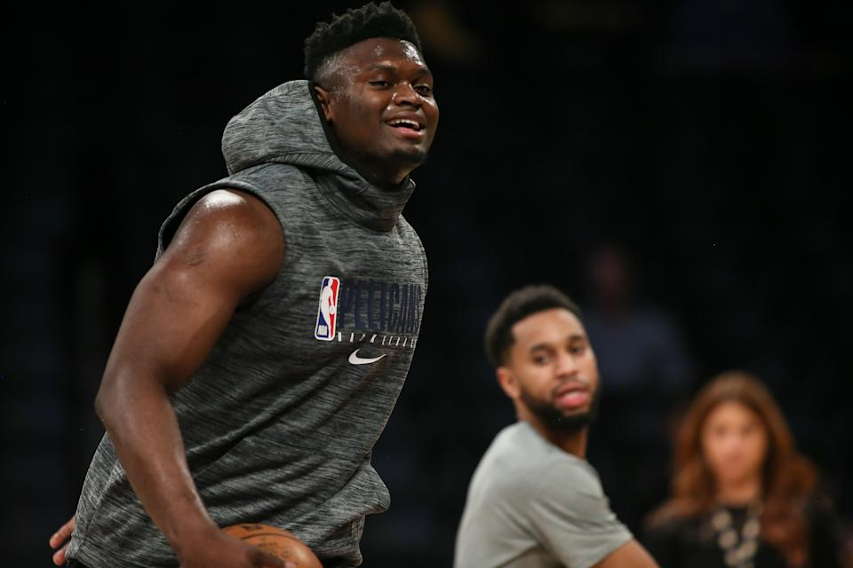 LOS ANGELES, CA - JANUARY 03: New Orleans Pelicans forward Zion Williamson (1) before the New Orleans Pelicans vs Los Angeles Lakers NBA basketball game on January 03, 2019, at Staples Center in Los Angeles, CA. (Photo by Jevone Moore/Icon Sportswire via Getty Images)