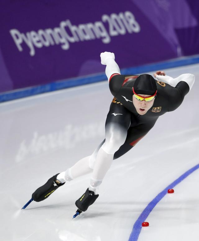Speed Skating - Pyeongchang 2018 Winter Olympics - Men's 1000m competition finals - Gangneung Oval - Gangneung, South Korea - February 23, 2018 - Nico Ihle of Germany competes. REUTERS/Damir Sagolj