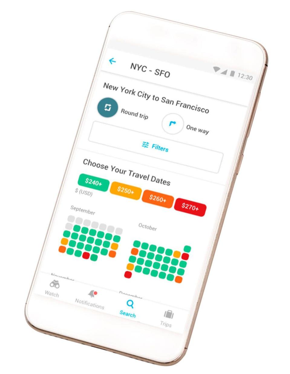 """""""There's no magic day or time — but to find the best rate, set up airfare alerts,"""" says Norcross. Try Google Flights, Hopper, Momondo or AirfareWatchdog: Enter your destination and dates, and receive notifications when fares drop. When you see a good price, don't wait—the better the fare, the faster it will disappear. To give yourself the best chance for a cheap ticket, start monitoring prices about two to three months before your departure date."""