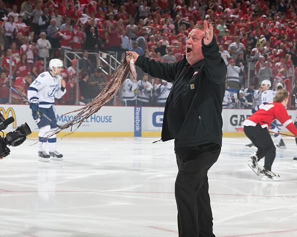 "Al Sobotka holds up an octopus thrown on the ice prior to Game Three of the Eastern Conference Quarterfinals between the Detroit Red Wings and the <a class=""link rapid-noclick-resp"" href=""/nhl/teams/tam/"" data-ylk=""slk:Tampa Bay Lightning"">Tampa Bay Lightning</a> during the 2016 NHL Stanley Cup Playoffs on April 17, 2016 at Joe Louis Arena in Detroit, Michigan. The Wings defeated the Lightning 2-0. (Getty Images)"