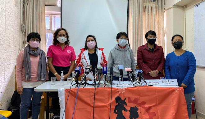 Members of the Hong Kong Federation of Asian Domestic Workers Unions meet the press on March 22 to discuss fears surrounding living with employers undergoing quarantine during the Covid-19 epidemic. Photo: Fiona Sun