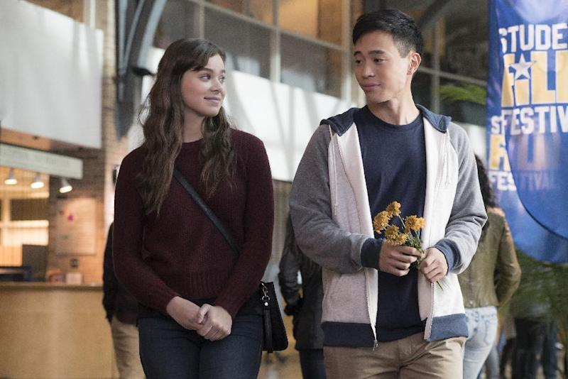 """This image released by STX Films shows Hailee Steinfeld, left, and Hayden Szeto from the film, """"The Edge of Seventeen."""" (Murray Close/STX Films via AP)"""