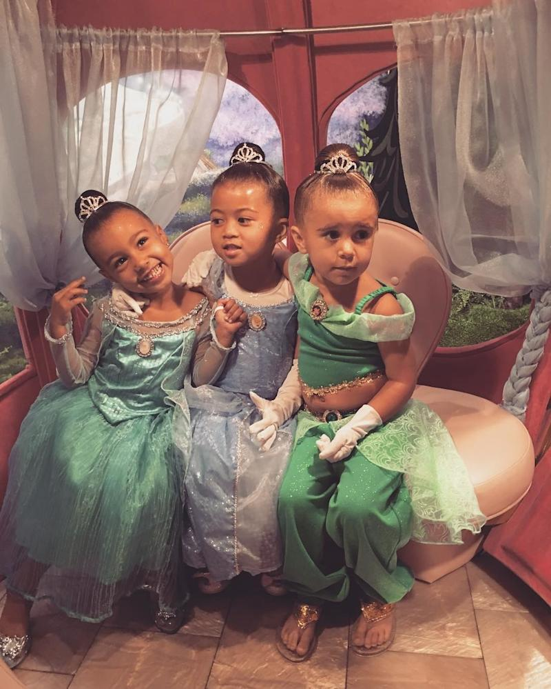 Dressed like a princess with her best friend, Ryan, and cousin Penelope Disick.