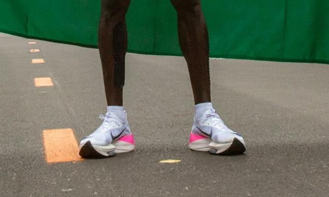 Eliud Kipchoge wore a special version of the Nike Vaporfly when he broke the two-hour barrier for the marathon (AFP Photo/ALEX HALADA)