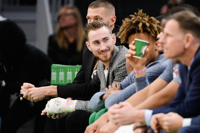 "After undergoing hand surgery less than four weeks ago, Celtics wing Gordon Hayward said he feels like he's ""ahead of schedule"" in his recovery. (Kathryn Riley/Getty Images)"